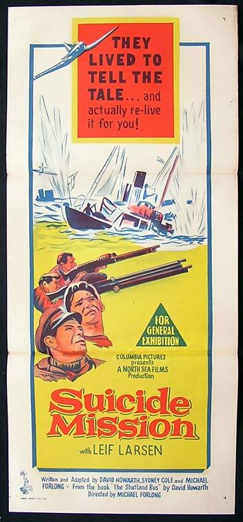SUICIDE MISSION Movie Poster 1954 Leif Larsen NORGWEGIAN CINEMA daybill