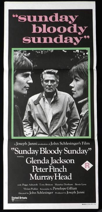 SUNDAY BLOODY SUNDAY Peter Finch Rare Australian Daybill Movie Poster