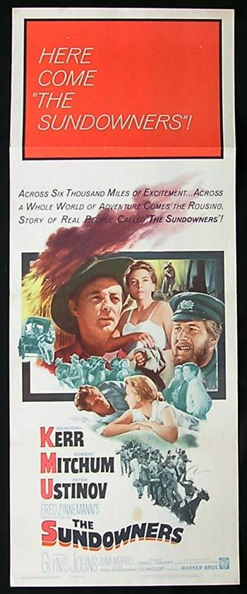 SUNDOWNERS '60 Deborah Kerr Robert Mitchum Peter Ustinov US Insert Movie poster