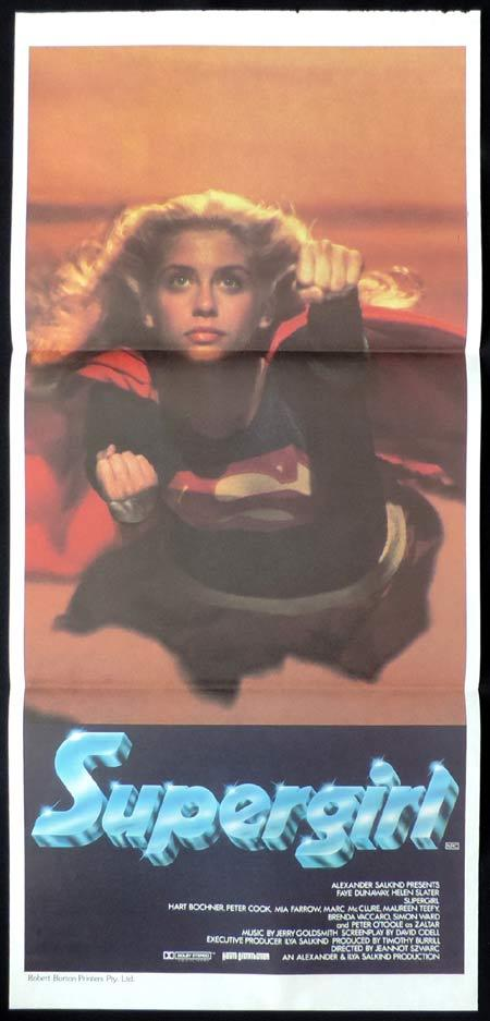 SUPERGIRL Daybill Movie poster Helen Slater Faye Dunaway