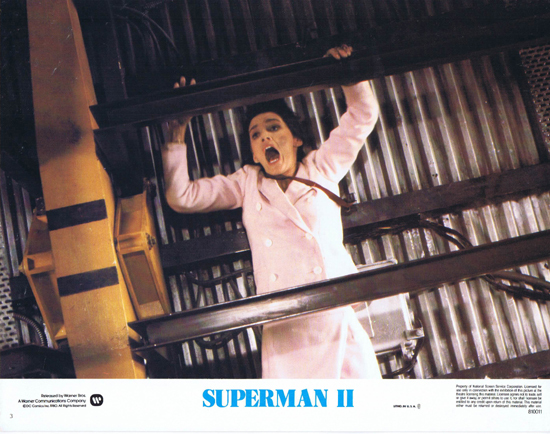 SUPERMAN II 1980 Christopher Reeve ORIGINAL US Lobby Card 3 Lois Lane in trouble