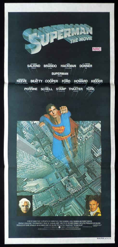 SUPERMAN THE MOVIE Original daybill Movie Poster Christopher Reeve Marlon Brando Gene Hackman