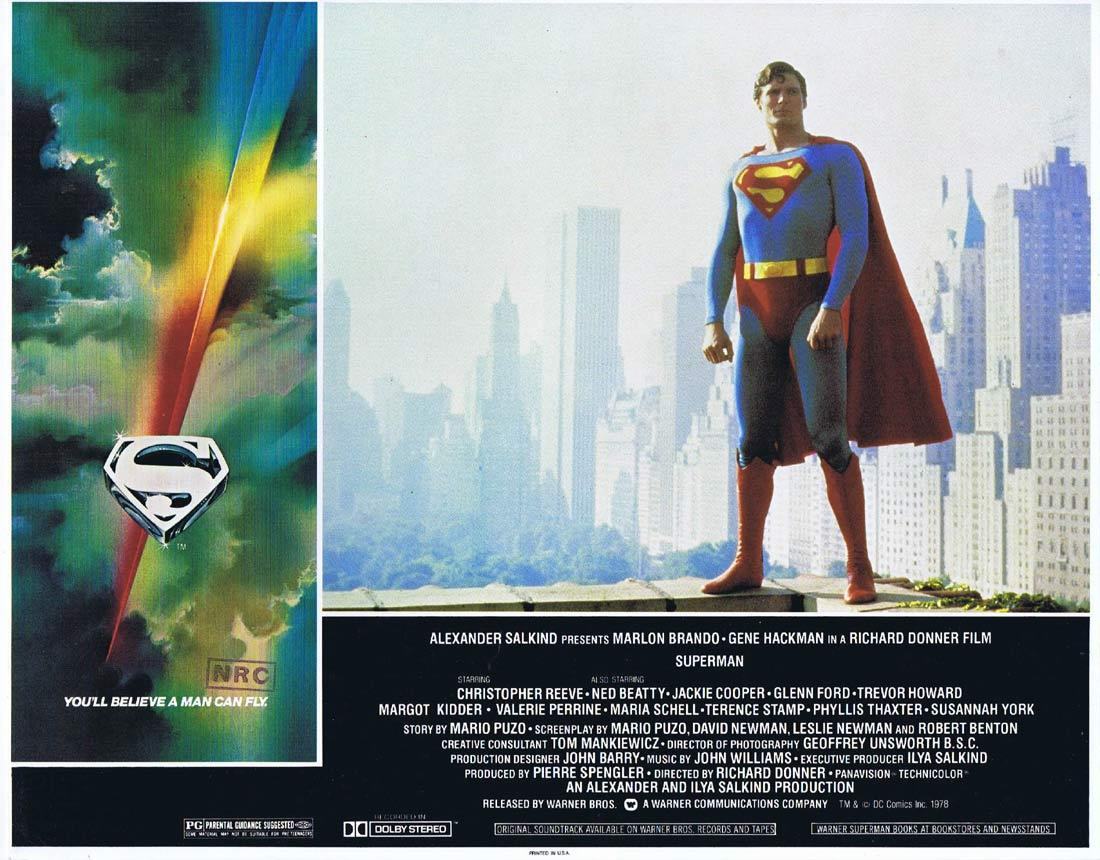 SUPERMAN Original Lobby Card 2 Christopher Reeve Margot Kidder Gene Hackman