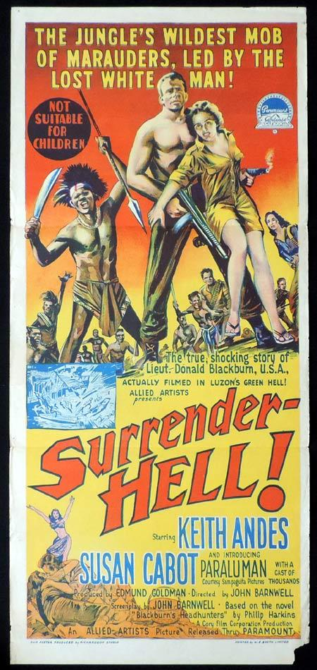 SURRENDER HELL, Original Daybill, Movie Poster, KEITH ANDES, Susan Cabot, Richardson Studio