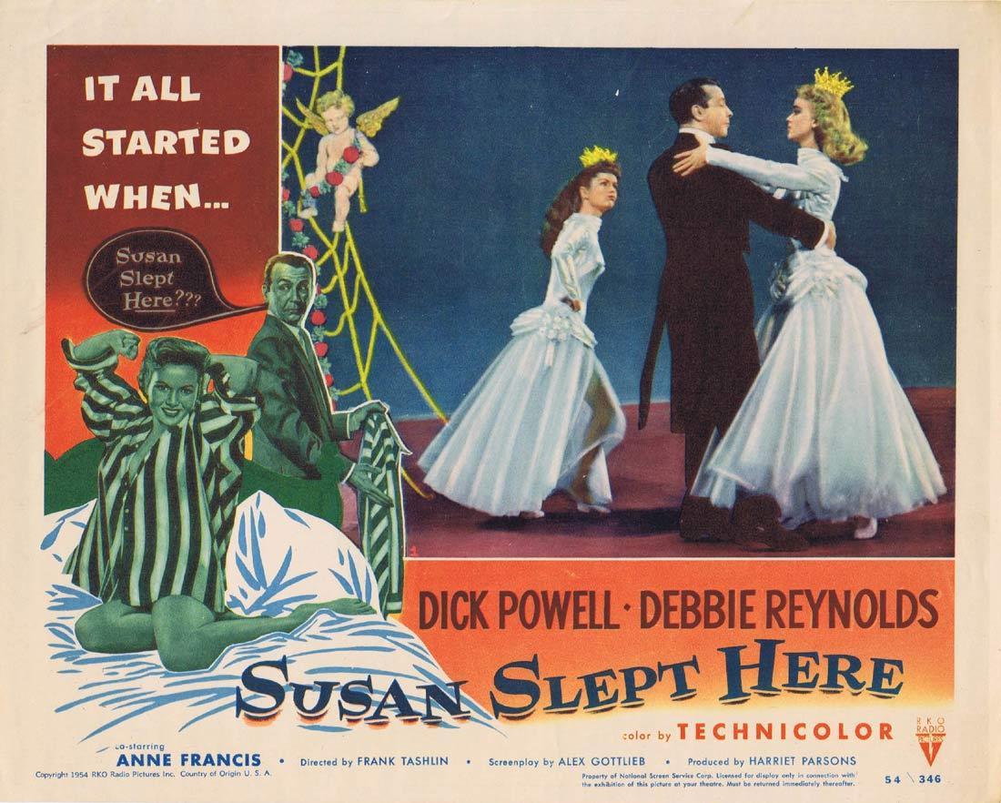 SUSAN SLEPT HERE Original Lobby Card Dick Powell Debbie Reynolds RKO