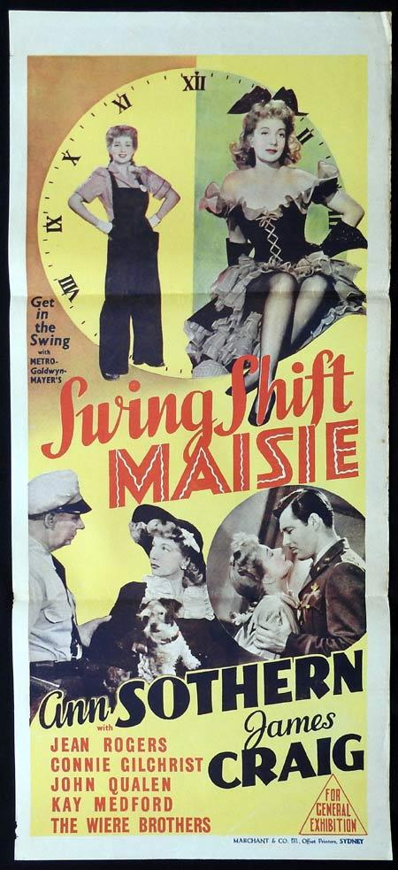 SWING SHIFT MAISIE Original Daybill Movie Poster Ann Sothern Marchant Graphics