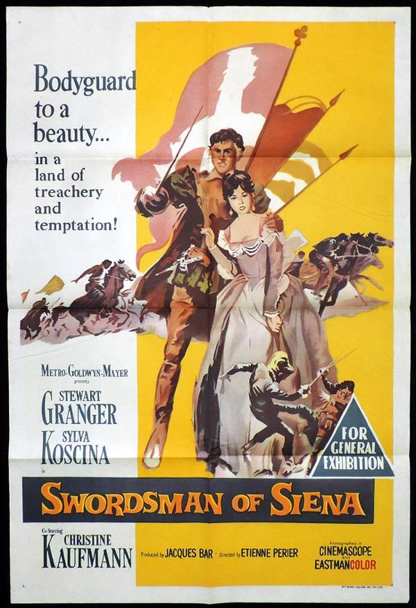 SWORDSMAN OF SIENA One Sheet Movie Poster Stewart Granger Sylva Koscina Christine Kaufmann