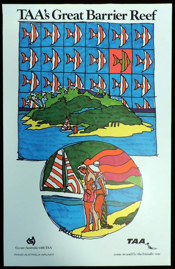 TAA GREAT BARRIER REEF Vintage Travel Poster  c.1967s