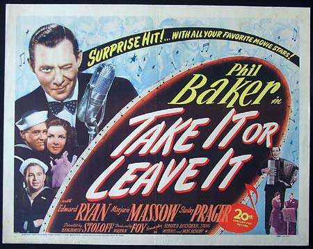 TAKE IT OR LEAVE IT '44-Phil Baker US HALF SHEET poster