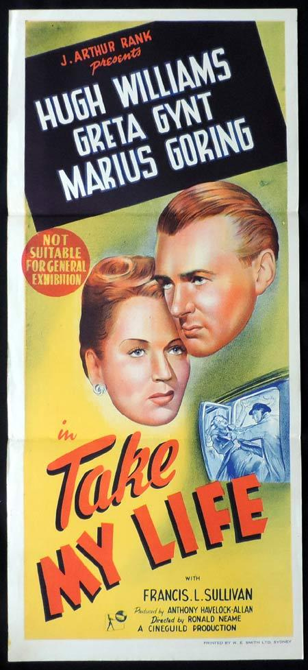 TAKE MY LIFE Original Daybill Movie Poster Hugh Williams Greta Gynt