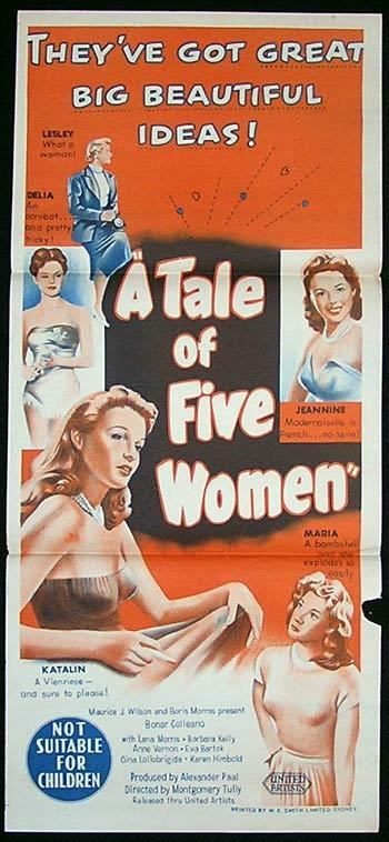 A TALE OF FIVE WOMEN Movie Poster 1951 Bonar Colleano Australian Daybill - A Tale of Five Cities (1951)