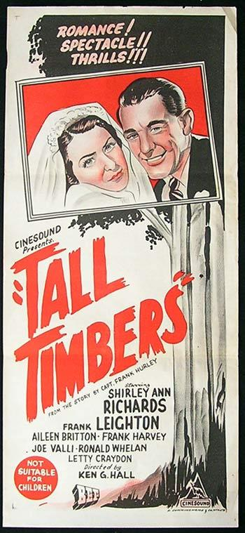 TALL TIMBERS aka TIMBERLAND TERROR Movie poster 1953 Shirley Ann Richards Australian Daybill