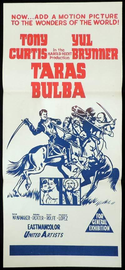 TARAS BULBA Original Daybill Movie Poster Tony Curtis Yul Brynner
