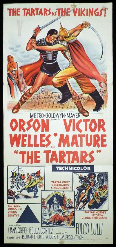 THE TARTARS Daybill Movie Poster Orson Welles Victor Mature Sword and Sandal