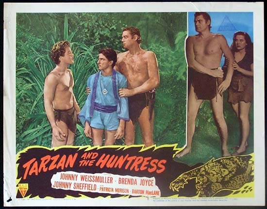 TARZAN AND THE HUNTRESS 1947 Johnny Weissmuller RARE Lobby card 2 - Edgar Rice Burrough's Tarzan and the Huntress (RKO 1947).  Directed by Kurt Neumann.  Starring Johnny Weissmuller, Brenda Joyce, Johnny Sheffield, Patricia Morison, Barton MacLane.
