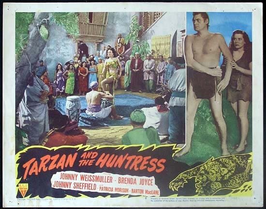 TARZAN AND THE HUNTRESS 1947 Johnny Weissmuller RARE Lobby card 4 - Edgar Rice Burrough's Tarzan and the Huntress (RKO 1947).  Directed by Kurt Neumann.  Starring Johnny Weissmuller, Brenda Joyce, Johnny Sheffield, Patricia Morison, Barton MacLane.