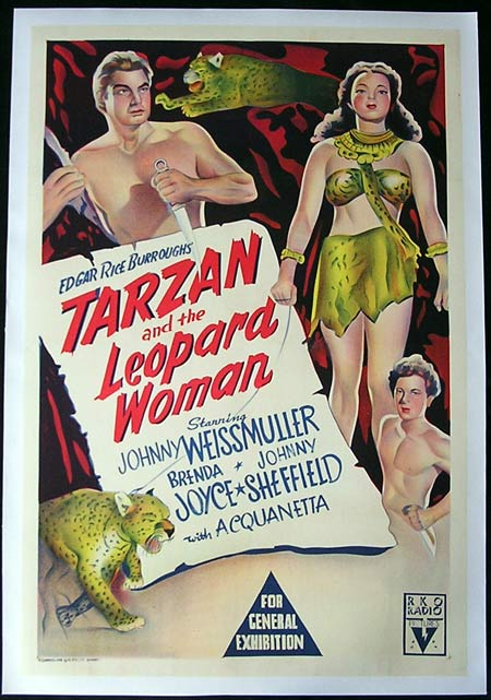 TARZAN AND THE LEOPARD WOMAN Johnny Weissmuller RARE Linen One sheet