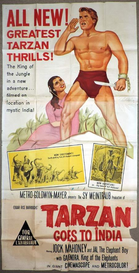 TARZAN GOES TO INDIA Original 3 Sheet Movie Poster Jock Mahoney