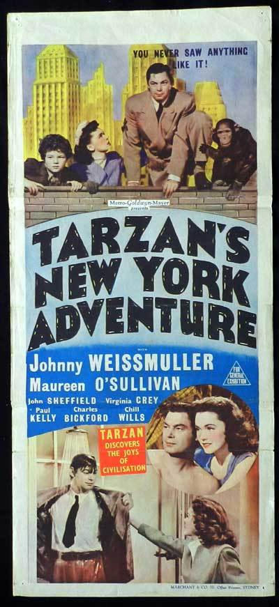 TARZAN'S NEW YORK ADVENTURE 1942 Johnny Weissmuller as Tarzan Daybill Movie poster