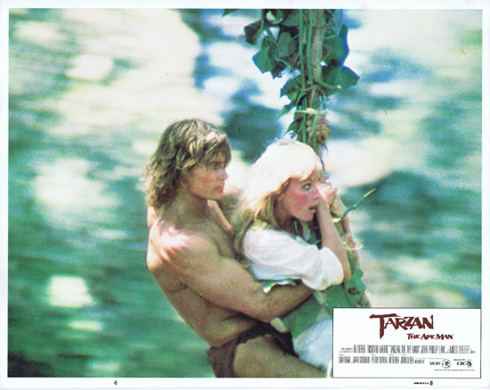 TARZAN THE APE MAN Lobby Card 6 1981 Bo Derek and Miles O'Keefe swing
