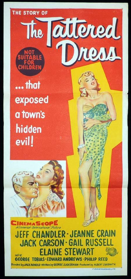 THE TATTERED DRESS Original Daybill Movie Poster Jeff Chandler Jeanne Craine