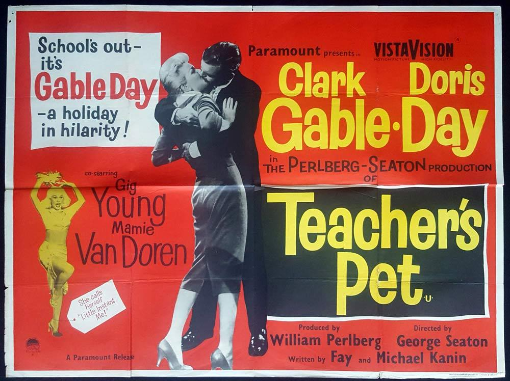 TEACHER'S PET British Quad Movie poster Doris Day Clark Gable