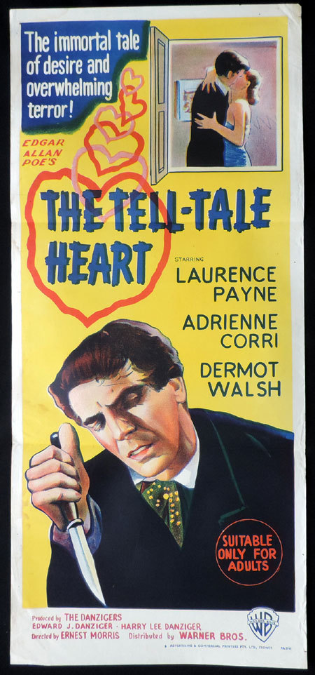 THE TELL-TALE HEART Original Daybill Movie poster Lawrence Payne Adrienne Corri Edgar Allan Poe