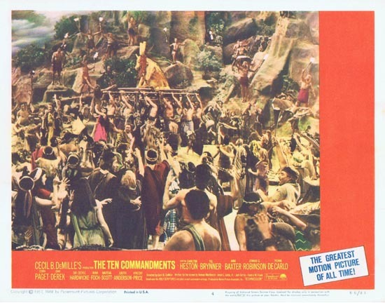 THE TEN COMMANDMENTS Lobby Card 4 1966r Charlton Heston