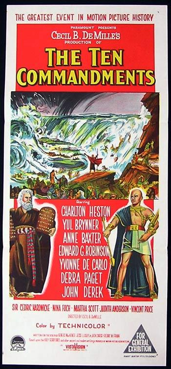 THE TEN COMMANDMENTS Daybill Movie Poster Charlton Heston