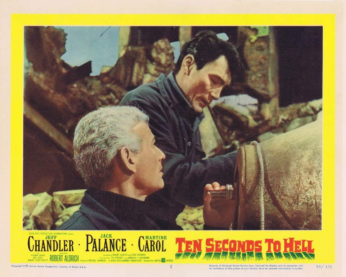 TEN SECONDS TO HELL Lobby Card 2 Jack Palance Jeff Chandler Martine Carol HAMMER