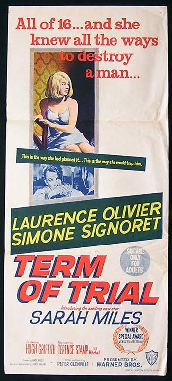 TERM OF TRIAL Movie poster Laurence Olivier Simone Signoret - TERM OF TRIAL Movie poster Laurence Olivier Simone Signoret