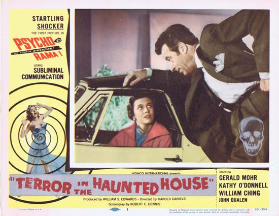 TERROR IN THE HAUNTED HOUSE '58 aka My World Dies Screaming Filmed in Psycho Rama! US Lobby card 1
