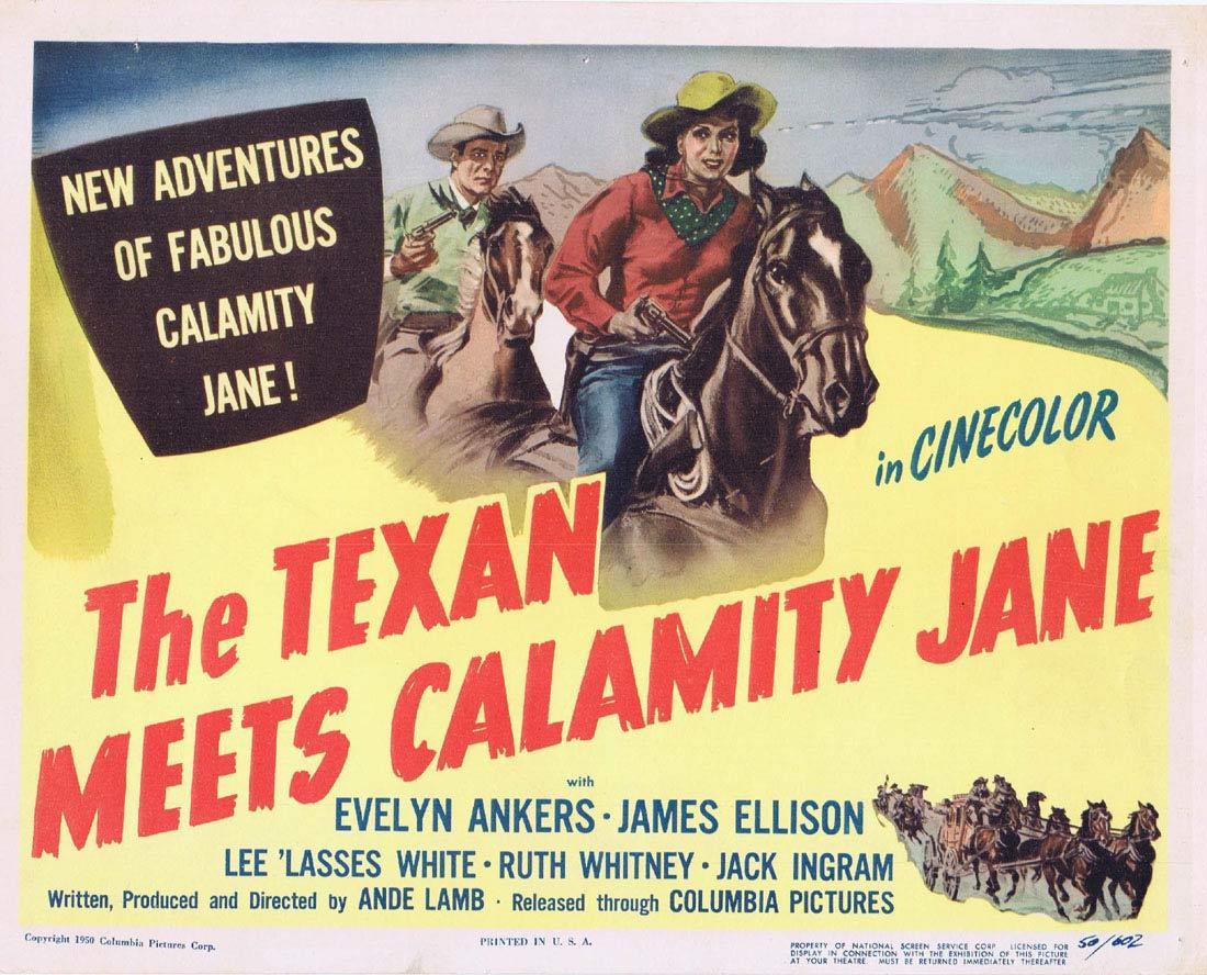 THE TEXAN MEETS CALAMITY JANE Title Lobby Card Evelyn Ankers James Ellison Grace