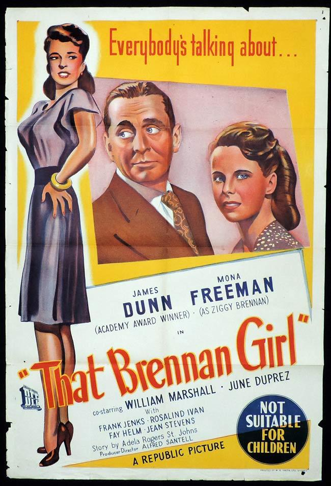 THAT BRENNAN GIRL Original One sheet Movie Poster James Dunn Mona Freeman