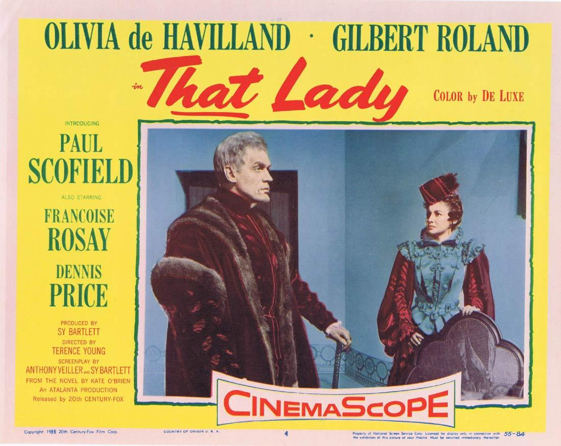 THAT LADY Lobby Card 4 Olivia de Havilland Paul Scofield Gilbert Roland