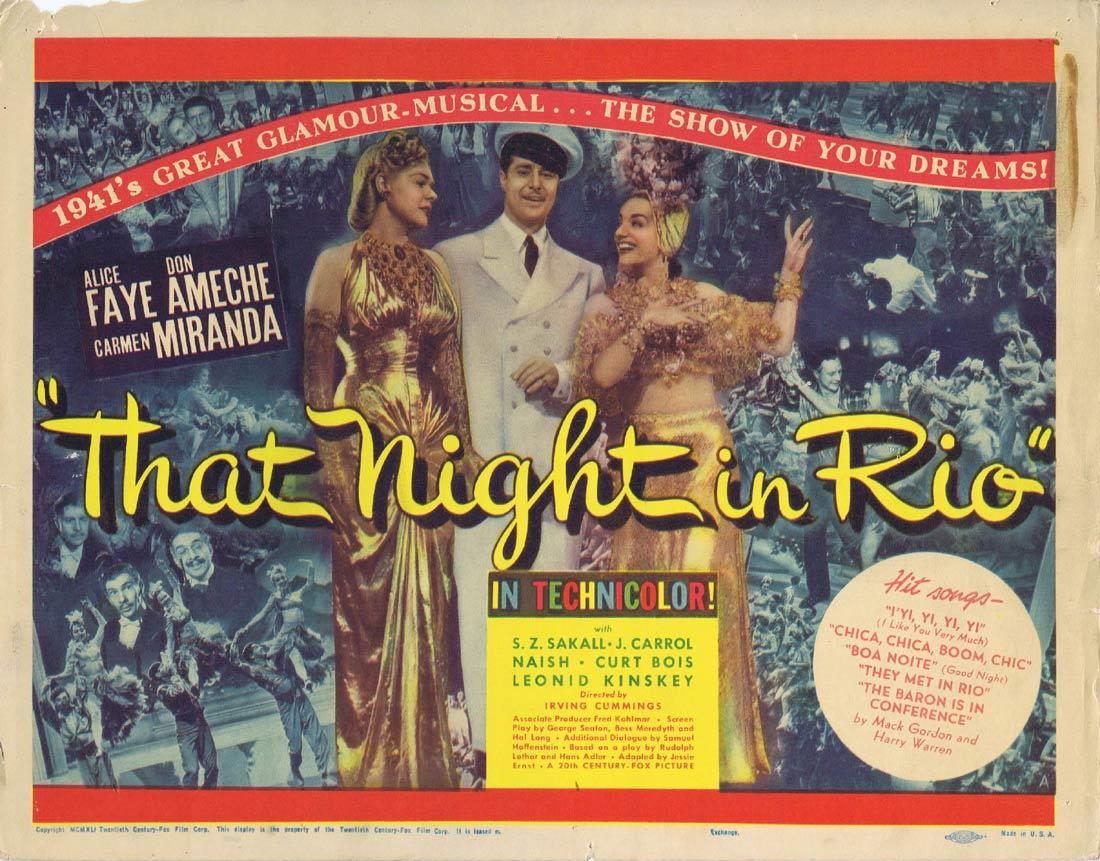 THAT NIGHT IN RIO Original Lobby Card Don Ameche Alice Faye Carmen Miranda