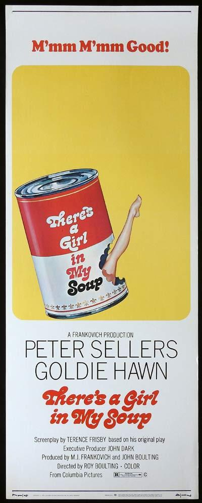 THERE'S A GIRL IN MY SOUP US Insert  Movie Poster Peter Sellers Goldie Hawn