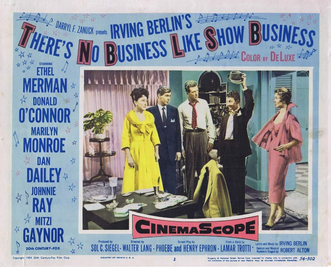 THERE'S NO BUSINESS LIKE SHOW BUSINESS Lobby Card 2 Ethel Merman Donald O'Connor Marilyn Monroe