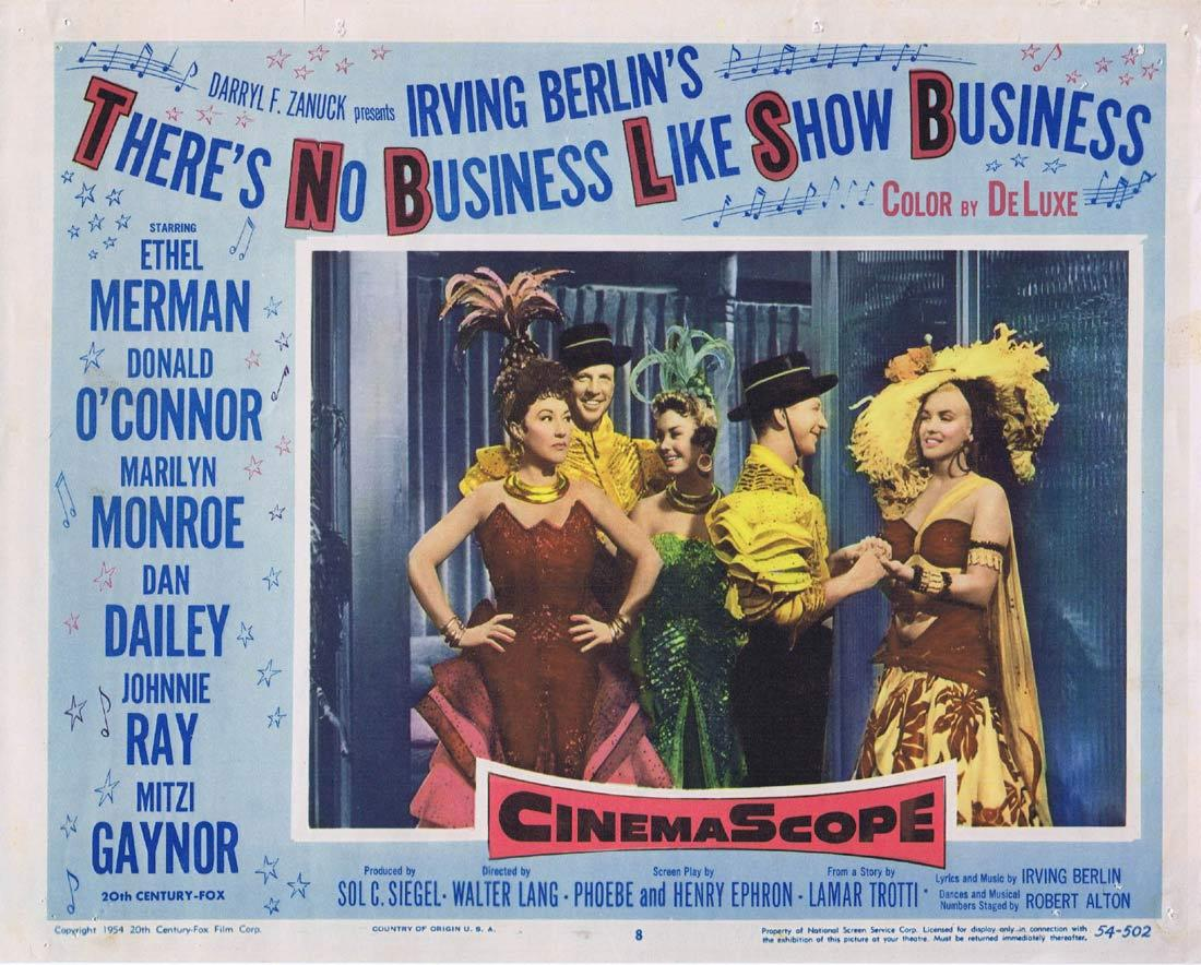 THERE'S NO BUSINESS LIKE SHOW BUSINESS Lobby Card 8 Ethel Merman Donald O'Connor Marilyn Monroe