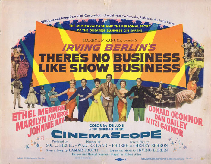 There's No Business Like Show Business, Walter Lang, Ethel Merman, Donald O'Connor, Marilyn Monroe, Johnnie Ray, Mitzi Gaynor, Dan Dailey, Lee Patrick, Eve Miller, Rhys Williams, Hugh O'Brian, Frank McHugh, Irving Berlin, Richard Eastham