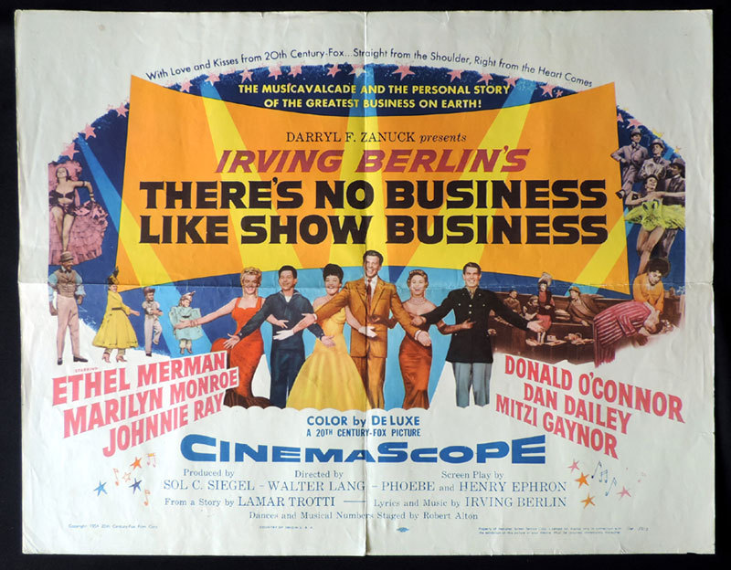 THERE'S NO BUSINESS LIKE SHOW BUSINESS Marilyn Monroe US Half Sheet Movie poster