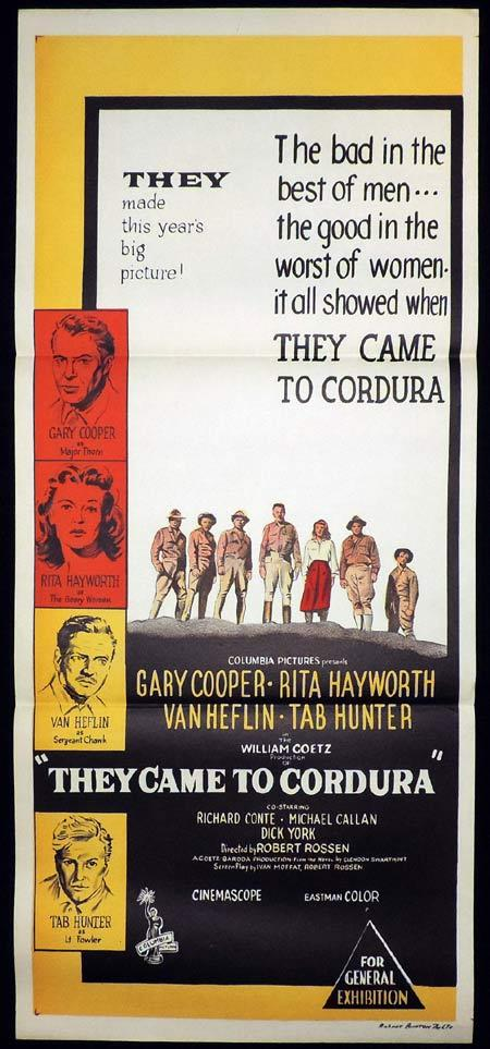 THEY CAME TO CORDURA Original Daybill Movie Poster Rita Hayworth Gary Cooper