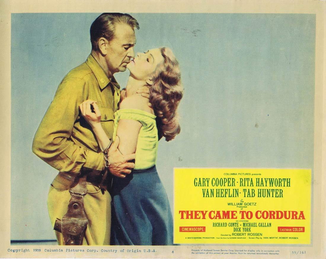 THEY CAME TO CORDURA Lobby Card 4 Gary Cooper Rita Hayworth Van Heflin