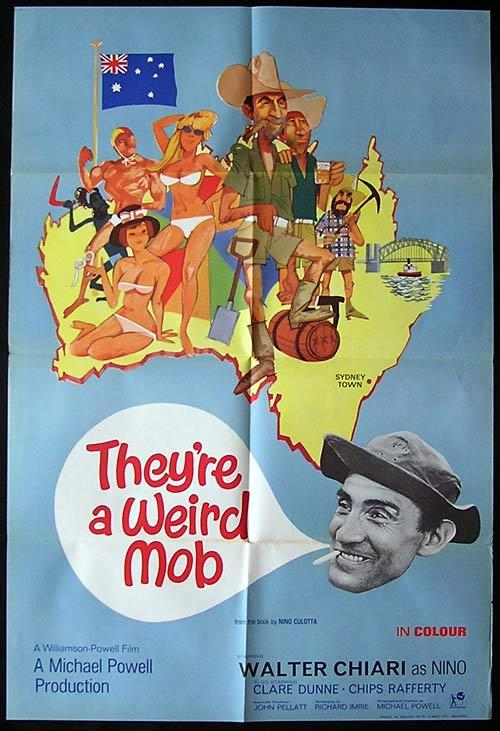 THEYRE A WEIRD MOB Movie Poster 1966 Walter Chiari RARE British One sheet