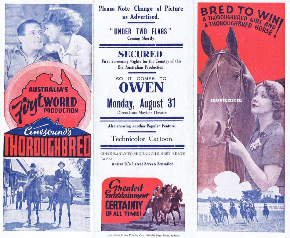 THOROUGHBRED Original Vintage Movie Herald KEN G.HALL Australian Cinema Classic