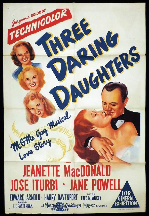 THREE DARING DAUGHTERS One sheet Movie poster Jeanette McDonald