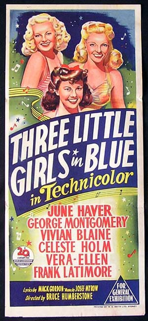 THREE LITTLE GIRLS IN BLUE Movie Poster 1946 June Haver RARE daybill