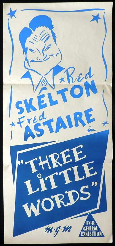 THREE LITTLE WORDS Original Daybill Movie Poster Fred Astaire Red Skelton