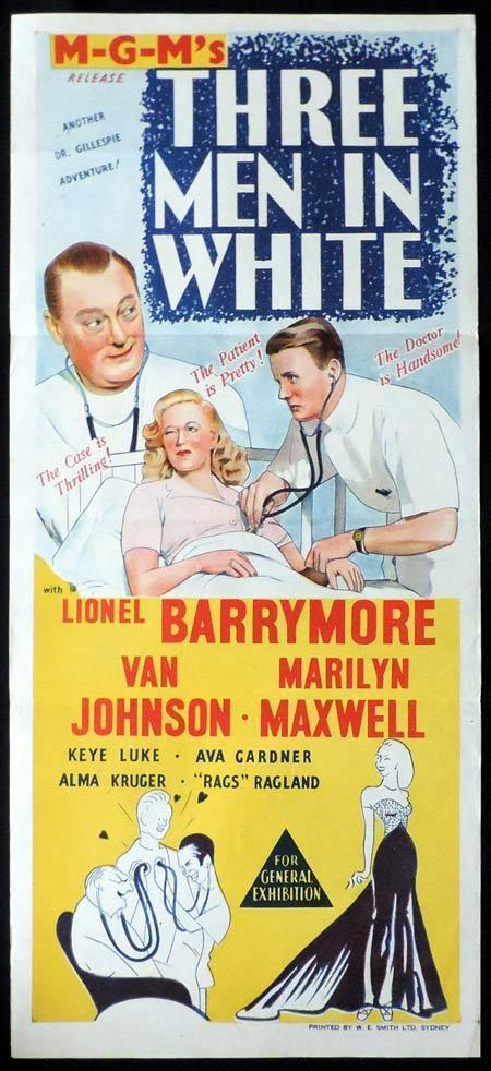 THREE MEN IN WHITE Original Daybill Movie Poster Paulette Goddard Michael Wilding