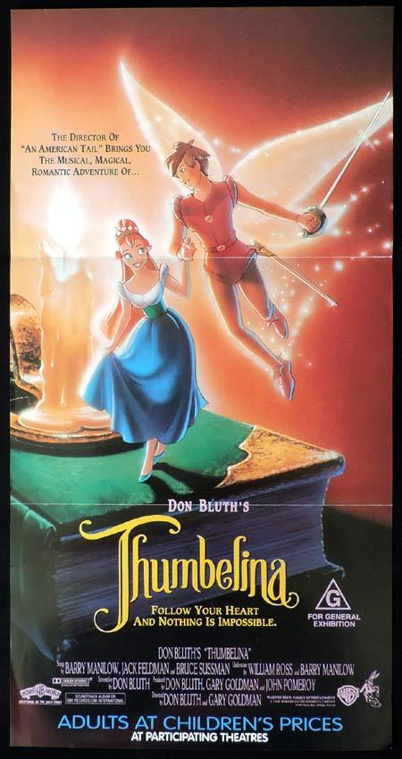 THUMBELINA Original Daybill Movie Poster Don Bluth Animation